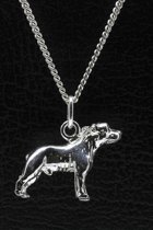 Zilveren Staffordshire bull terrier oren gecoupeerd ketting hanger - groot