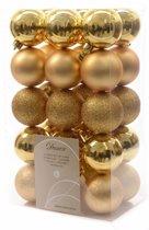 Kerstboom decoratie kerstballen mix goud 30 stuks