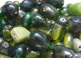 Glaskralen / kralen luster groen mix ca. 1000 gram