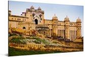Vooraanzicht van het Fort Amber in India Aluminium 120x80 cm - Foto print op Aluminium (metaal wanddecoratie)