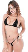Spannende Micro Bikini Met String En Bikini Topje – Metallic Zwart 18+