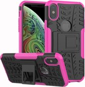 Let op type!! Tire Texture TPU + PC schokbestendig Case voor iPhone XS Max  met houder (roze)