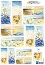 Hobby wenskaartenpakket - Marianne Design decoupage x1 Tiny's beach 3 - 10 stuk