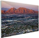 Las Vegas en omgeving Glas 90x60 cm - Foto print op Glas (Plexiglas wanddecoratie)