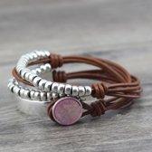 Wikkel Armband Dayz Camel Leer Roze Kristal | Edelmetaal | 2 Laags