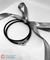 Dubbele Bedelarmband leder met 925 Sterling Zilver slot | Armband | Reizen | Bedels charms Beads | 925 Sterling Silver | Geschikt voor Pandora | Tracelet | 36 cm