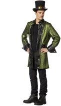 Duivels heren jas lang metallic groen