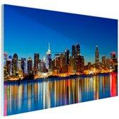 New York Skyline nacht Glas 60x40 cm - Foto print op Glas (Plexiglas wanddecoratie)