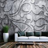 Fotobehang - Zilveren achtergrond met bloemmotief