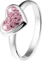 Lucardi - Zilveren kinderring met licht roze kristal