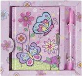 Lg-imports Dagboek Met Pen Vlinder Roze 19 Cm