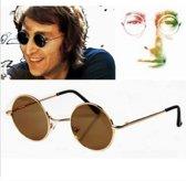 Ronde Hippie Zonnebril - Retro John Lennon Bril - Groen