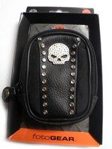 Harley Davidson camera hoesje | Zwart met diamante doodskop