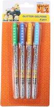 Minions Glitterpennen 15 Cm Junior 4 Stuks