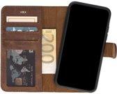 GALATA Samsung Galaxy S9 afneembare 2in1 magneet echt leer bookcase hoesje - antiek bruin
