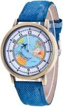 Fako Bijoux® - Horloge - Mini World Ring - Blauw