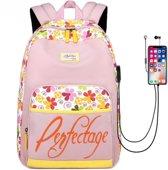 Roze Rugzak met Bloemenpatroon en USB Aansluiting - Schooltas / Rugtas / Laptoptas voor Dames en Meisjes