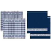 DDDDD Keukendoeken En Theedoeken Set Flora Blue (2+2 stuks)