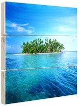 Tropisch eiland helderblauw water Hout 80x60 cm - Foto print op Hout (Wanddecoratie) / Zee en Strand
