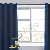 Gordijnen | Blauw | Verduisterend & Geluidswerend | Ringen | 100% Polyester | 150 x 250 cm