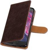 Motorola Moto X4 Mocca   Premium TPU PU Leder bookstyle / book case/ wallet case    WN™