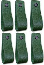 Leren handgrepen - Olijf groen - 6 stuks - 16,5 x 2,5 cm | incl. 3 kleuren schroeven per leren handgreep
