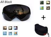 Ski bril + hard case lens Smoke Zwart frame Zwart F type 8 Cat. 0 tot 4 - ☀/☁ extra lens is optie.