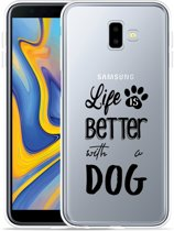 Galaxy J6 Plus Hoesje Life Is Better With a Dog - zwart