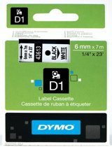 Dymo 43613 - Tape Type D1 / 6mm X 7m / Zwart / Wit