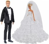Barbie en Ken bruiloft kleding - Lange witte bruidsjurk met kant en zwart pak voor modepop