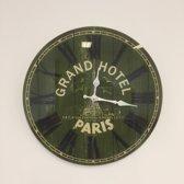 WANDKLOK VINTAGE GRAND HOTEL PARIS RETRO GROEN