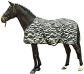 Vliegendeken -Zebra- met kruissingels wit/zwart 95