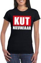 Foute oud en nieuw t-shirt kut nieuwjaar zwart voor dames 2XL