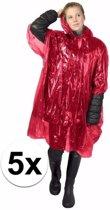 5x wegwerp regenponcho rood - poncho