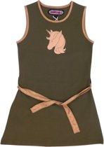Happy Nr. 1-meisjes-jurk, kleed-Unicorn, Eenhoorn, Paard-kleur:  kaki, goud-maat 128