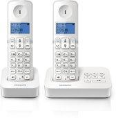 Philips D3152W - Duo DECT telefoon met antwoordapparaat- Wit