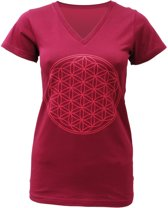 "Yoga-T-Shirt ""Flower of Life"" - bordeaux L Loungewear shirt YOGISTAR"