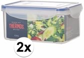 2x stuks Thermos airtight vershoud doosjes/bakjes 1.1 liter
