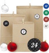 relaxdays DHZ adventskalender - 24 papieren zakjes - cijferstickers - houten knijpers A
