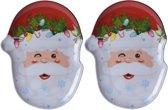 Bellatio Decorations kerst borden/serveerschalen - kerstman - 28 x 18 cm - 2 stuks