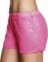 4 stuks: Hotpants Pailletten neon roze - Medium