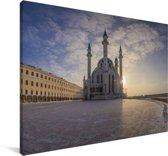 De Qol Sharif moskee in Kazan Canvas 90x60 cm - Foto print op Canvas schilderij (Wanddecoratie woonkamer / slaapkamer)