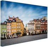 Stadsplein Warschau Canvas 60x40 cm - Foto print op Canvas schilderij (Wanddecoratie woonkamer / slaapkamer) / Steden Canvas Schilderij