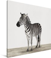 Zebra dierenprint kinderkamer Canvas 50x50 cm - Foto print op Canvas schilderij (Wanddecoratie woonkamer / slaapkamer)