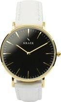 KRAEK Laraline Goud Zwart 36 mm - Dames Horloge - Wit horlogebandje
