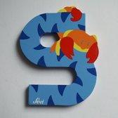 Sevi - Houten Dieren Letter S - blauw