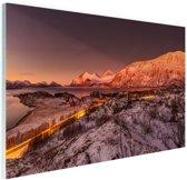 Arctische zonsondergang over Kvaloya Glas 120x80 cm - Foto print op Glas (Plexiglas wanddecoratie)