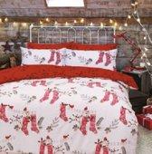 kerst dekbedovertrek - kerstsokken kruissteek - eenpersoons met 1 kussensloop