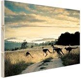 Kangoeroes op de weg  Hout 120x80 cm - Foto print op Hout (Wanddecoratie)