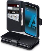Qubits - luxe echt lederen wallet hoes - Samsung Galaxy A40 - Zwart